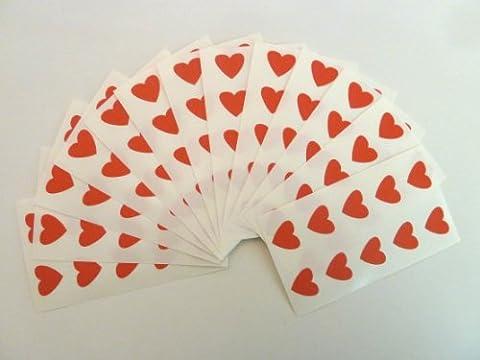 130 étiquettes en forme de cœurs 13 x 12 mm, Rouge, Code couleur Autocollants Motif cœurs