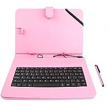 "DURAGADGET Funda / Teclado ESPAÑOL Rosa 10.1 "" Para Tablet Huawei MediaPad M3 Lite 10 - Conexión MicroUSB + Lápiz Stylus"