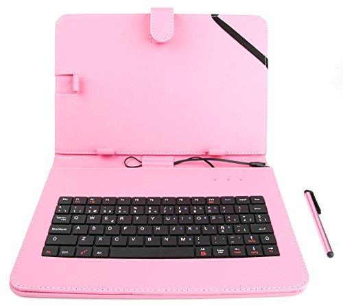 2-in-1 Micro-USB-Hülle plus Tastatur aus Lederimitat mit SPANISCHER QWERTY-Belegung, geeignet für Digital2 9