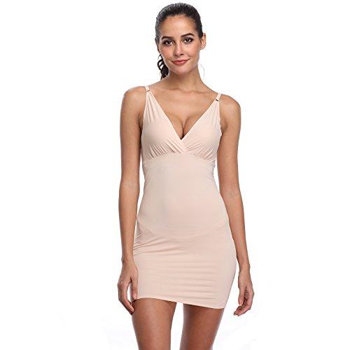 der für Damen Trägern Unterröcke Unterkleid Full Slips Miederkleid Underskirt Unterwäsche Seamless Sexy Bodycon Kleid Nachthemd Nachtwäsche Nachtkleid (Beige, XX-Large/XXX-Large) ()