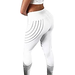 HARRYSTORE Mujer pantalones deporte de rayas impresora laser color fitness leggins yoga gym (Small, Blanco)