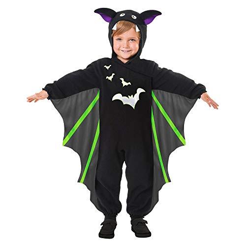 shoperama Kleine Fledermaus Kinder-Kostüm Overall Flügel Kapuze Ohren Mädchen Jungen Halloween-Kostüm, Größe:104 - 3 bis 4 (Blutsauger Kind Kostüm)