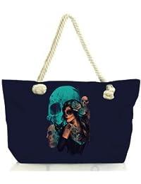 Snoogg Day Of The Dead Women Anchor Messenger Handbag Shoulder Bag Lady Tote Beach Bags Blue