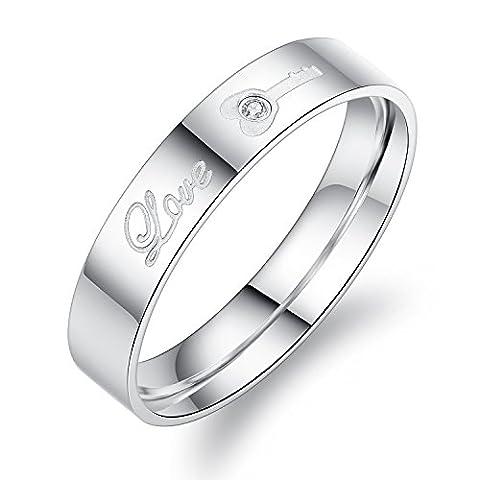 """Fate Love Paare Gifts 316L Edelstahl """"Love Versprechen Ringe mit Schloss und Schlüssel Muster Silber (Pack im Karton)"""