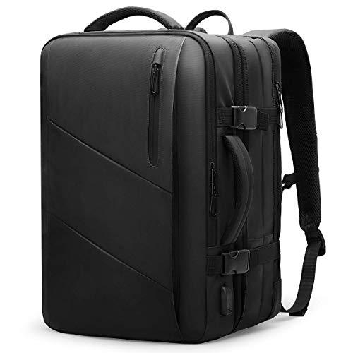 MarkRyden Laptop Rucksack,26/38L wasserdicht Business Handgepäck Rucksack Herren Reiserucksack Flug Genehmigt ,für 17/15,6 Zoll Laptop, mit USB Ladeanschluss, schwarz