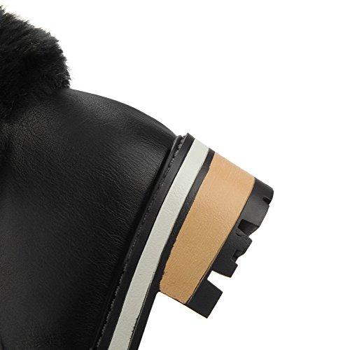 VogueZone009 Damen Weiches Material Rund Zehe Rein Niedrig-Spitze Stiefel Schwarz