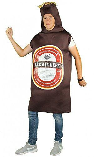 Foxxeo 40293 I braunes Bierkostüm Kostüm Bier Junggesellenabschied Bierflasche Flasche Pils Rückseite bedruckbar Blanko, - Bier Motto Kostüm