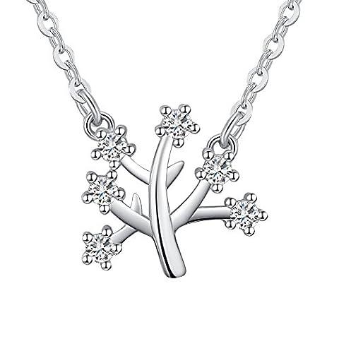 FANSING Bijoux Cadeau 925/1000 Argent Sterling Blanc Zirconium L'Arbre De La Vie Filles 12.5mm*13mm Pendentifs Colliers 45cm