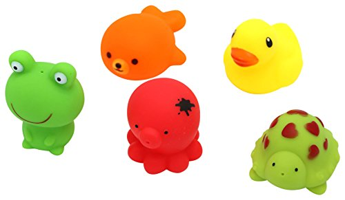 Bath Toys for infants of age 18+ months a set of five sea squirts bath toys, enjoy playing with sea creatures in your bath tub full of soap an foam