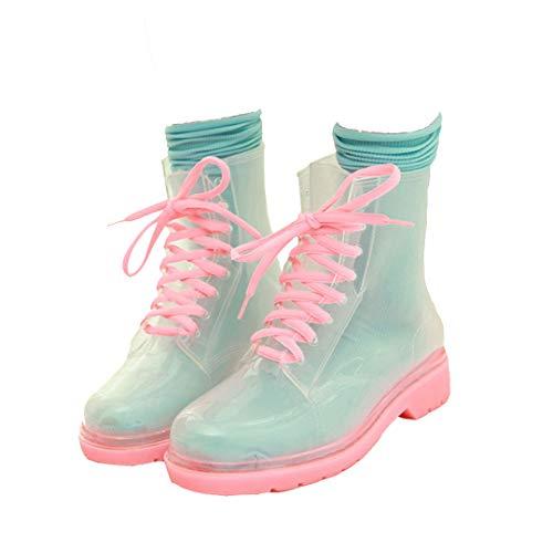 Mini Balabala Damen Chelsea Rain Boot Gummistiefel Kurzschaft Ankle Stiefeletten Gummistiefeletten Regenstiefel, 40 EU, D Pink