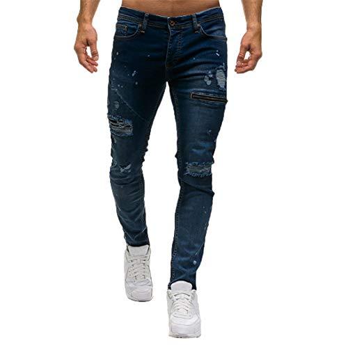 Kword Pantaloni di Jeans da Uomo Pantaloni Casual in Denim con Cerniera Elegante Sportivo da Lavoro Pantaloncini da Jogging Pantaloni Stretti Casuale