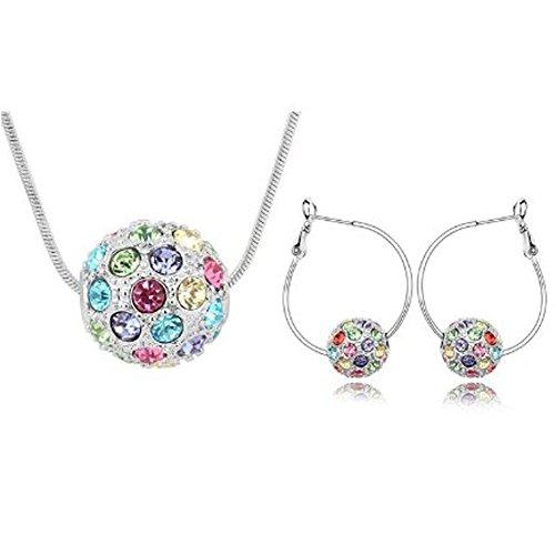 Parure collana e orecchini donna con cristalli Swarovski, stile Shamballa Element colore nuovo Multi-colore - Multi Orecchini A Cristallo Di Colore