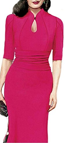 SunIfSnow Damen Schlauch Kleid, Gepunktet Gr. M, hot pink (Lace Pencil Skirt Metallic)