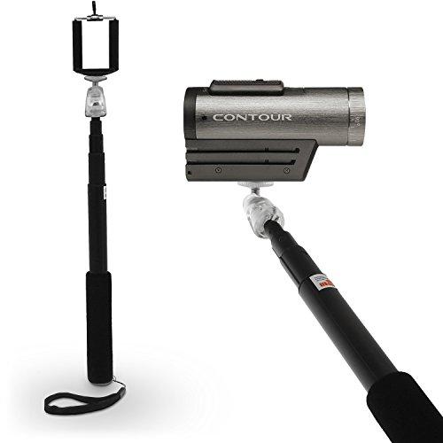 igadgitz Schwarz Erweiterbare Teleskop Hand gehalten Selbstporträt Selfie Stange Stick Einbeinstativ für Contour Action Cam +2, Roam 2, Roam 3 - Contour Action-cam