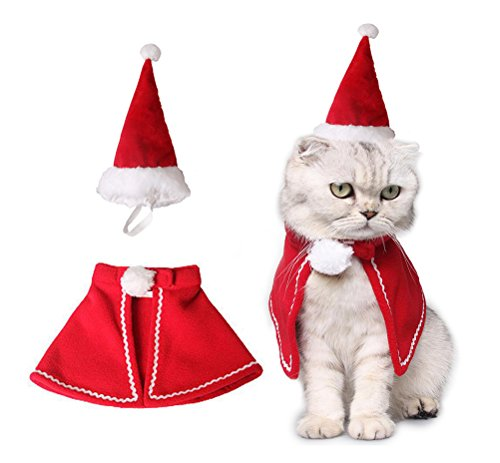 Roten Cape Einem Kostüm Mit - ANIAC Animal Weihnachten Kostüm Rot Poncho Cape mit Xmas Hat für Haustier Katzen Kleine Hunde