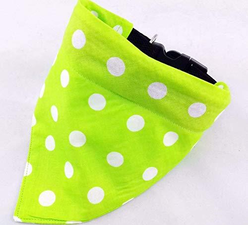Hundehalstuch als Halsband optional mit Wunsch Namen bestickt grün Punkte Halstuch Tuch -