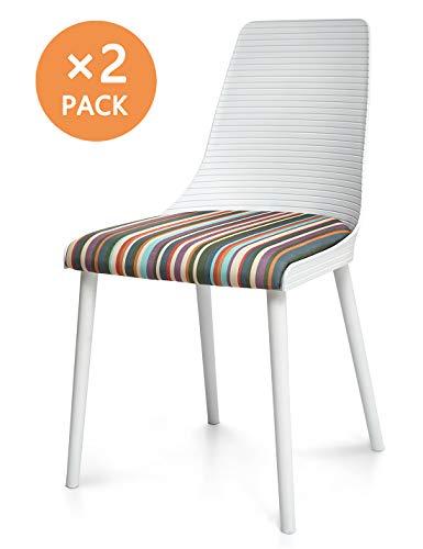 Suhu Stuhl Retro 2er Set Esszimmerstühle Esszimmer Designer Sessel Esstisch Stühle Modern Küchenstühle Stapelstuhl Loungesessel Vintage Schalenstuhl Essstühle Plastik Mit Gepolsterter Essstuhl Weiß