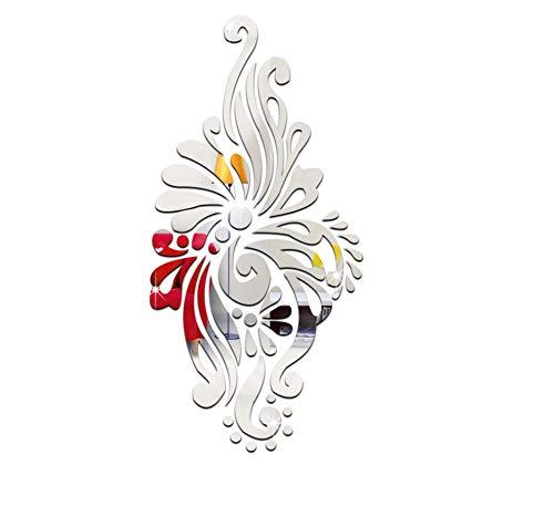 KaiXINSun Spiegel Wandaufkleber Ethnischen Stil Kristallspiegel Wandtattoo Wohnzimmer Veranda Neue Schlafzimmer Schlafzimmer DIY Dekorative Wandbilder Silber Entfernt - Ethnischen Spiegel