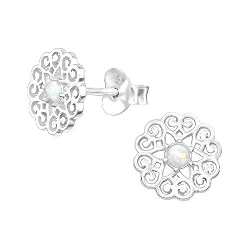 Laimons Damen-Ohrstecker Ohrringe Damenschmuck Mandala Scheibe Platte matt glanz Glitzer Sterling Silber 925