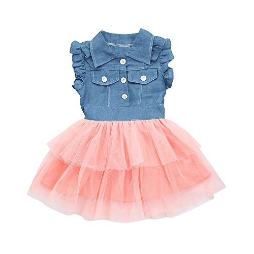 Cramberdy Baby Mädchen Kleider Ärmellos Mesh Sommerkleider Kinderbekleidung Party Kleid...