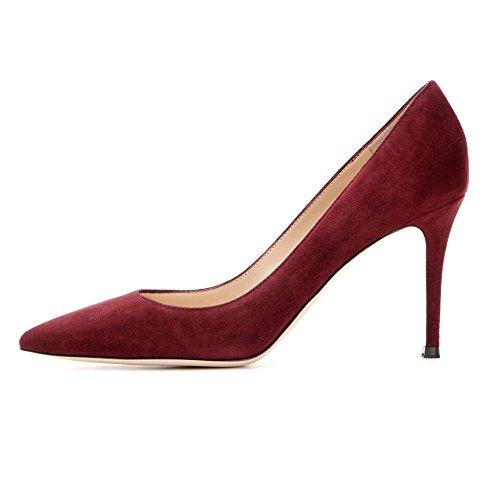 EDEFS Femmes Artisan Fashion Escarpins Classiques Simples Décontracté Travail Bureau Pointus Chaussures à talon haut de 85mm Rouge Sombre