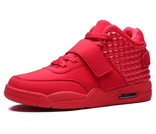 Men's Breathable High Top Leather Walking Shoes red