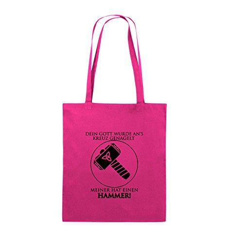 Comedy Bags - DEIN GOTT KREUZ - MEINER HAMMER - Jutebeutel - lange Henkel - 38x42cm - Farbe: Schwarz / Silber Pink / Schwarz