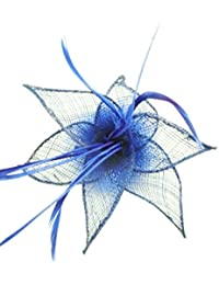 Turquoise Sinamay Leaf and Feather Beak Clip Brooch Corsage Fascinator