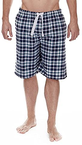 Cargo Bay Mens Pure Cotton Flannel Lounge Pyjama Shorts Navy Blue Small