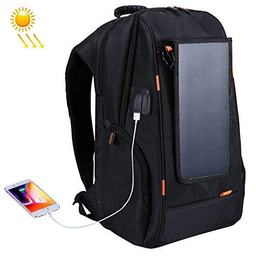 OLDWANG 7 Watt Solar Rucksack Solarpanel Solar-Panel Rucksack mit USB Ladeanschluss Stadt Ladegerät Smartphones 35L für iPhone 7 / 7s / 6s / 6, iPad Air 2 / Mini 3, Tabletblack