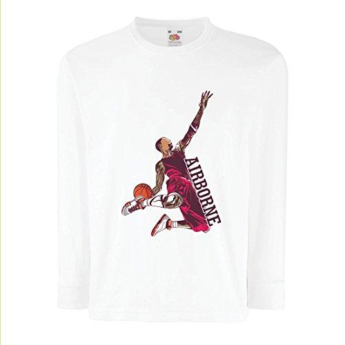 lepni.me Kinder-T-Shirt mit Langen Ärmeln Sei der Herr der Schwerkraft, Basketball Freestyle Dunk - Ich Liebe Dieses Spiel (3-4 Years Weiß - James Lebron Halloween