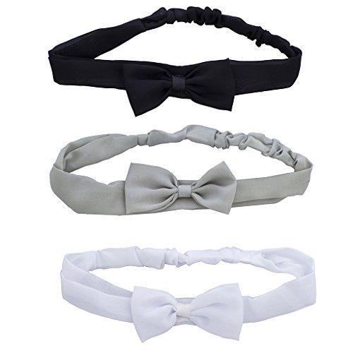 LUX Zubehör Schwarz Grau und Weiß Chiffon Schleife Headwrap Haarband Set 3