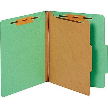 Staples Colored Pressboard Classification Folders, Letter, 1 Partition, Green, 20/Pack by Staples