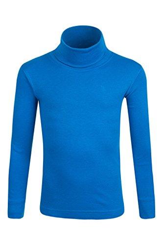 Mountain Warehouse Meribel Baumwoll-Kinderoberteil Rolli Thermounterwäsche Skiunterwäsche Langarmshirt mit Rollkragen Kobalt 152 (11-12 Jahre) (Rollkragen-shirt)