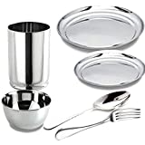 King International Stainless Steel Full Plate,Quarter Plate,Glasses,Katori,Spoon,Fork, Set Of 6 Pieces