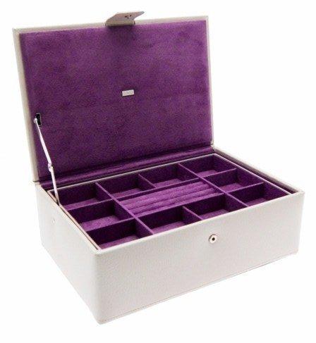 Dulwich Designs Oslo Magnifique boîte à bijoux en cuir véritable Couleur pierre/raisin
