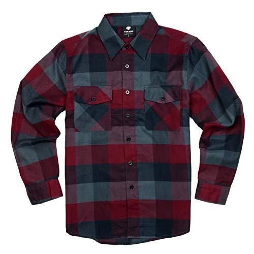 YAGO Herren Outdoor Langarm Flanell Plaid Button Down Shirt - Grau - 4X-Groß - Grau Plaid Flanell