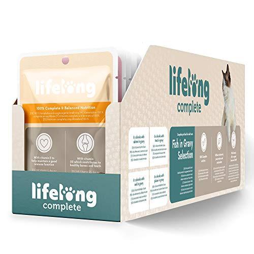 Marca Amazon - Lifelong Alimento completo para gatos adultos - Selección de pescado en salsa, 2,4 kg (24 bolsitas x 100g)