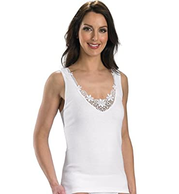 Slenderella Womens 100% Cotton Luxury Sleeveless Cami with Lace Detail (Various Sizes)