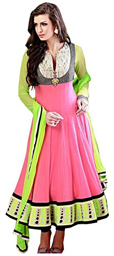 Clickedia Women Faux Georgette Embroidered Long Peach Anarkali Suit With Dupatta - Dress Material  available at amazon for Rs.899