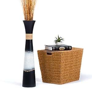 Leewadee Grande Vaso da Terra per Rami Decorativi Vaso Alto da Interno 75 cm, Legno di Mango, Nero