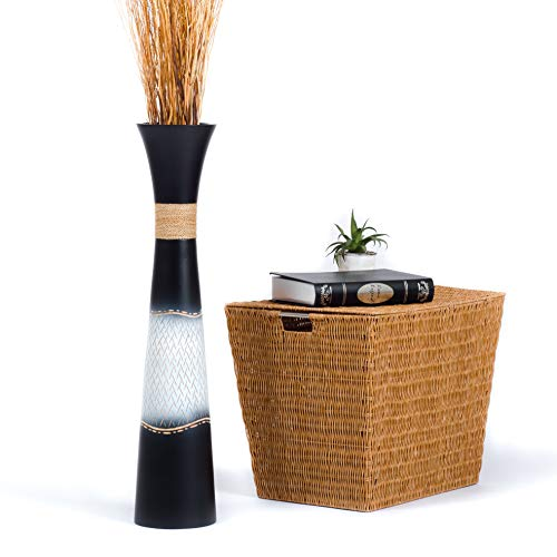 Leewadee Deko-Bodenvase - Holz - 75cm hoch (schwarz)