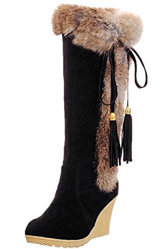 Damen Halbschaft Stiefel von Bigtree Bequem Keilabsatz Quasten Winter Warm Kaninchen Pelz Schneestiefel Schwarz 39 EU