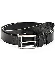 BuckleUp Mens Black Leather Formal Belt