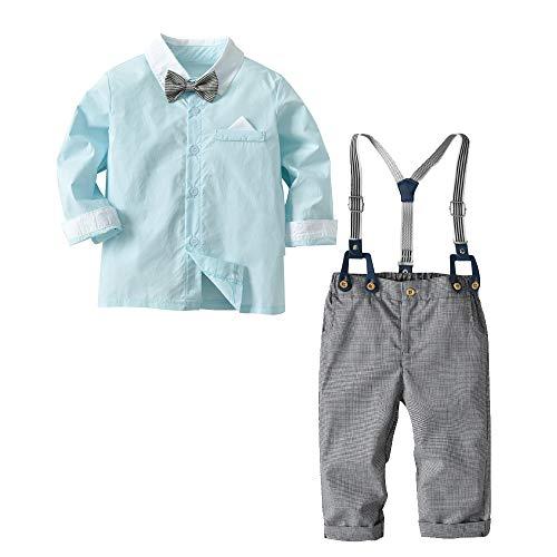 [Bekleidungsset Baby Junge] Hemd mit Fliege + Hose mit Träger Baumwolle Kleinkinder Set Gentleman Anzug Taufe Mintgrün 80