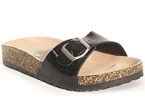 Ladies ELLA Marina Patent Faux Leather Buckle Slip On Peep Toe Flat Cork Flip Flop Mule Sandals Size 3-8 (UK 5, Black