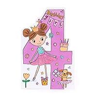 4TH Birthday Card - Birthday Card Aged 4 - Pretty Ballerina Birthday Card - Cute Princess Birthday Card - Gift Card for Girls - Birthday Gifts for Girls - Gift Card for Kids