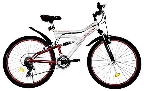 T&Y Trade 26 Zoll Kinder Herren Mädchen MTB Mountainbike Kinderfahrrad Mädchenfahrrad Fahrrad Rad Bike Vollgefedert Fully 21 Gang 4300 Weiss ROT