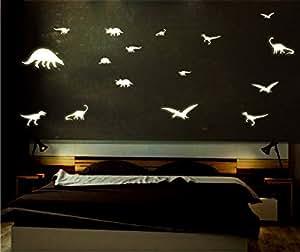 Sticker mural lumineux fluorescents et bGV-conte motifs dinosaures adhésifs muraux/20/fluorescent &stickers phosphorescents pour chambre d'enfant ou la maison -