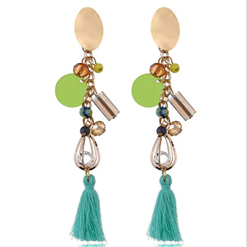 HSUMING Metal Sequin Crystal Long Tassel Earrings for Women Girl Beaded Fringe Dangle Ear Drops